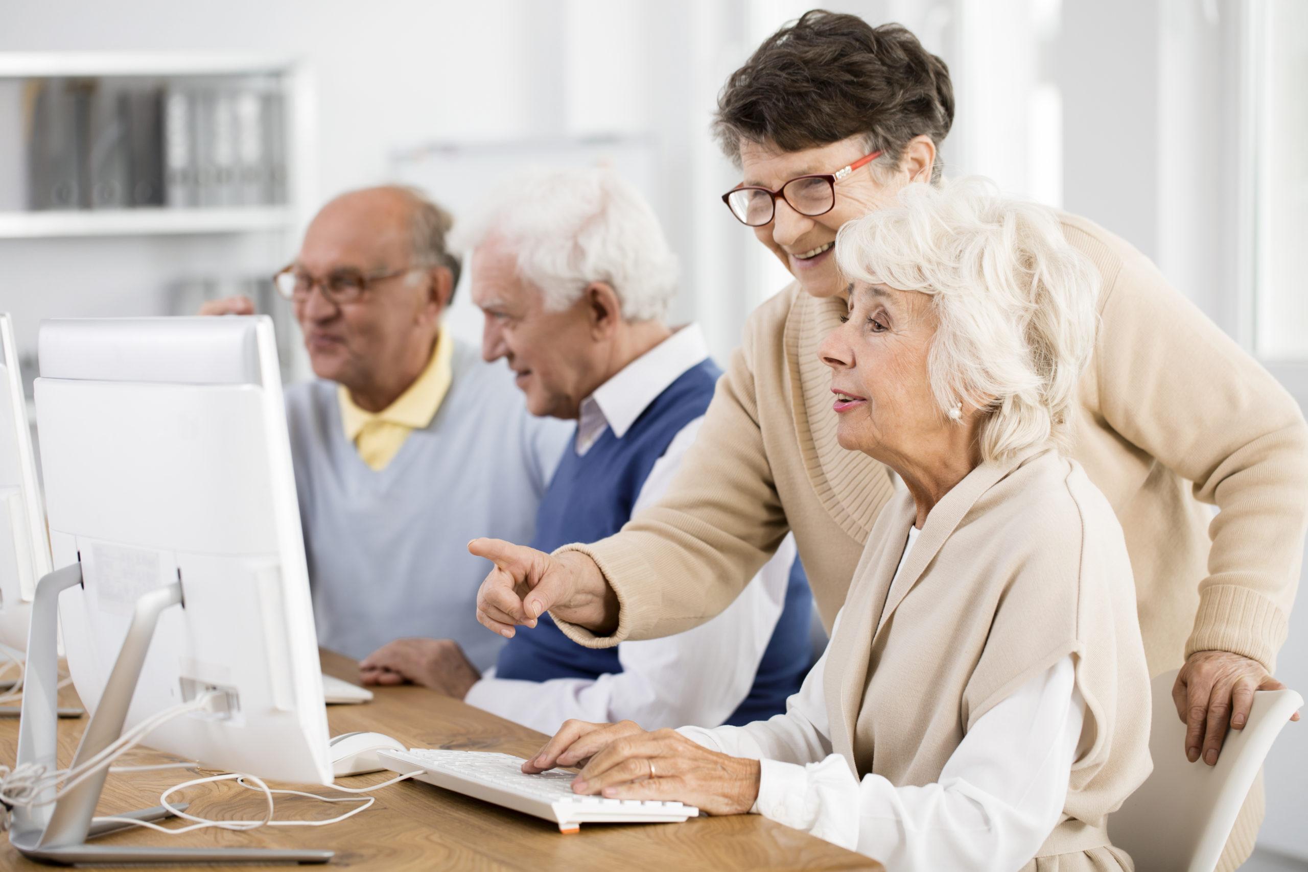 anziani che utilizzano un computer